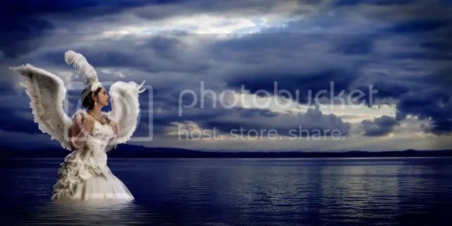 angel by the beach stock