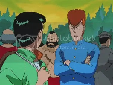Yusuke and Kuwabara, with Zangief in the background