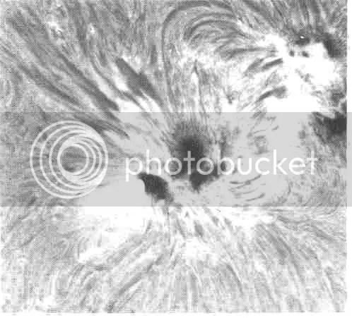 Primer plano de un grupo de manchas solares en luz roja de hidrógeno. Las manchas solares son regiones relativamente más frías, con intensos campos magnéticos. Las espículas oscuras adyacentes están ordenadas por el magnetismo local, como las limaduras de hierro por un imán. Las playas brillantes adyacentes están relacionadas con la aparición de grandes tormentas llamadas erupciones solares. (Cedida por el observatorio solar Big Bear.)
