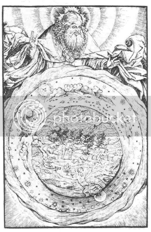 La visión tradicional judeo-cristiana de la creación del Cosmos. Dios (arriba) crea la Tierra y sus habitantes (los primeros hombres, Adán y Eva, están en el centro). Alrededor de la Tierra hay pájaros, nubes, el Sol, la Luna y las estrellas, encima de ella están las aguas del firmamento. De la Biblia de Martín Lutero publicada por Hans Luft, Wittenberg, 1534.