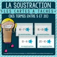 La Soustraction - Cartes à Tâches - des termes entre 05 et 20 - French Task Cards - For French Immersion