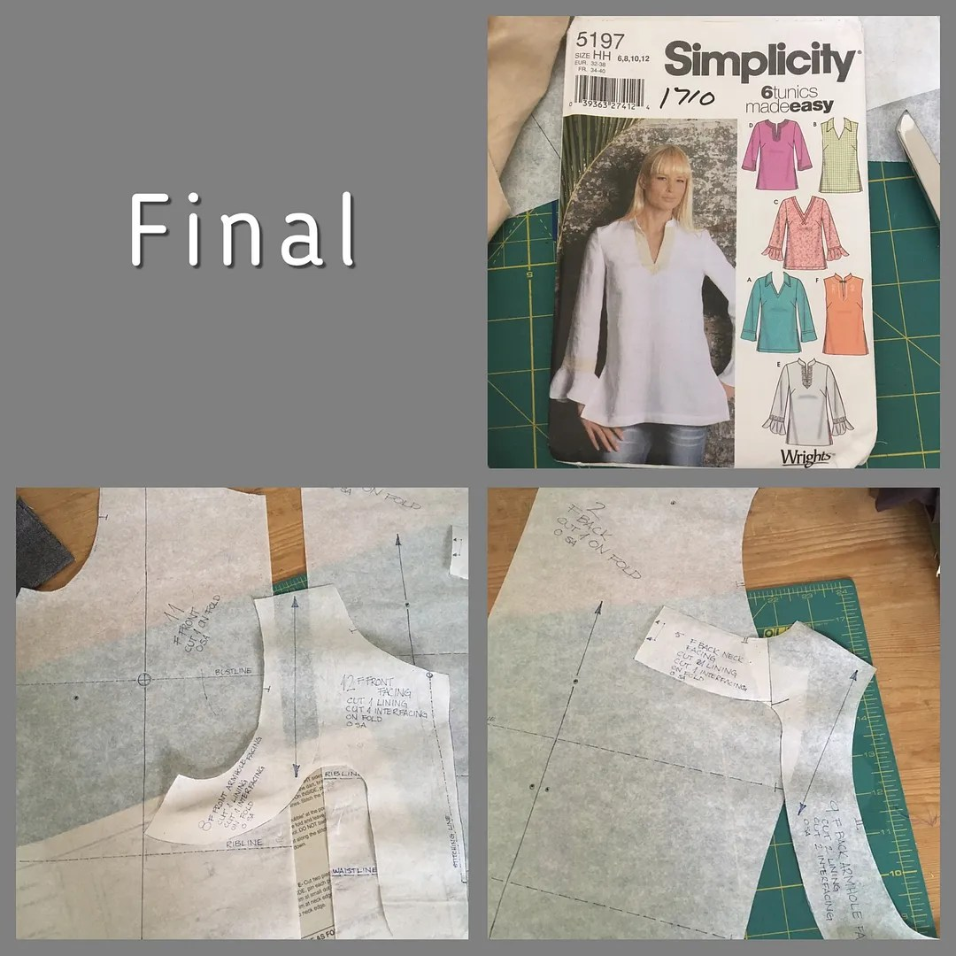 pattern envelope for simplicity 5167, and final copies of front+facing and back+facing pattern pieces