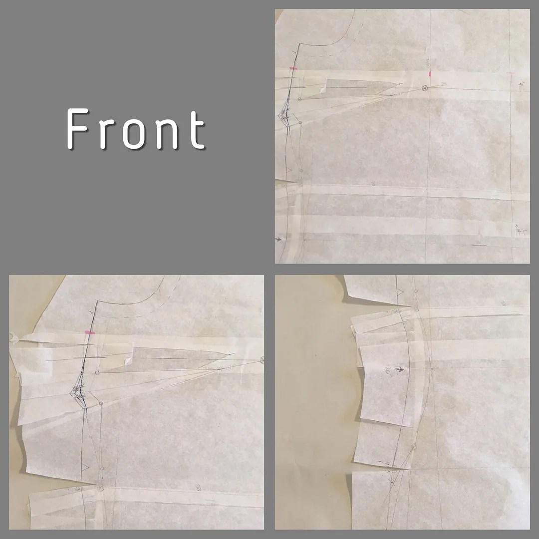 three views of a front bodice piece showing modifications detailed below