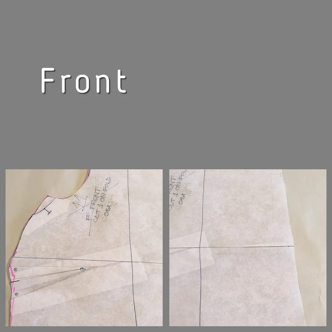 two views of a front bodice piece showing redrawn armhole/armpit curve, center front reduction, and bust dart increase