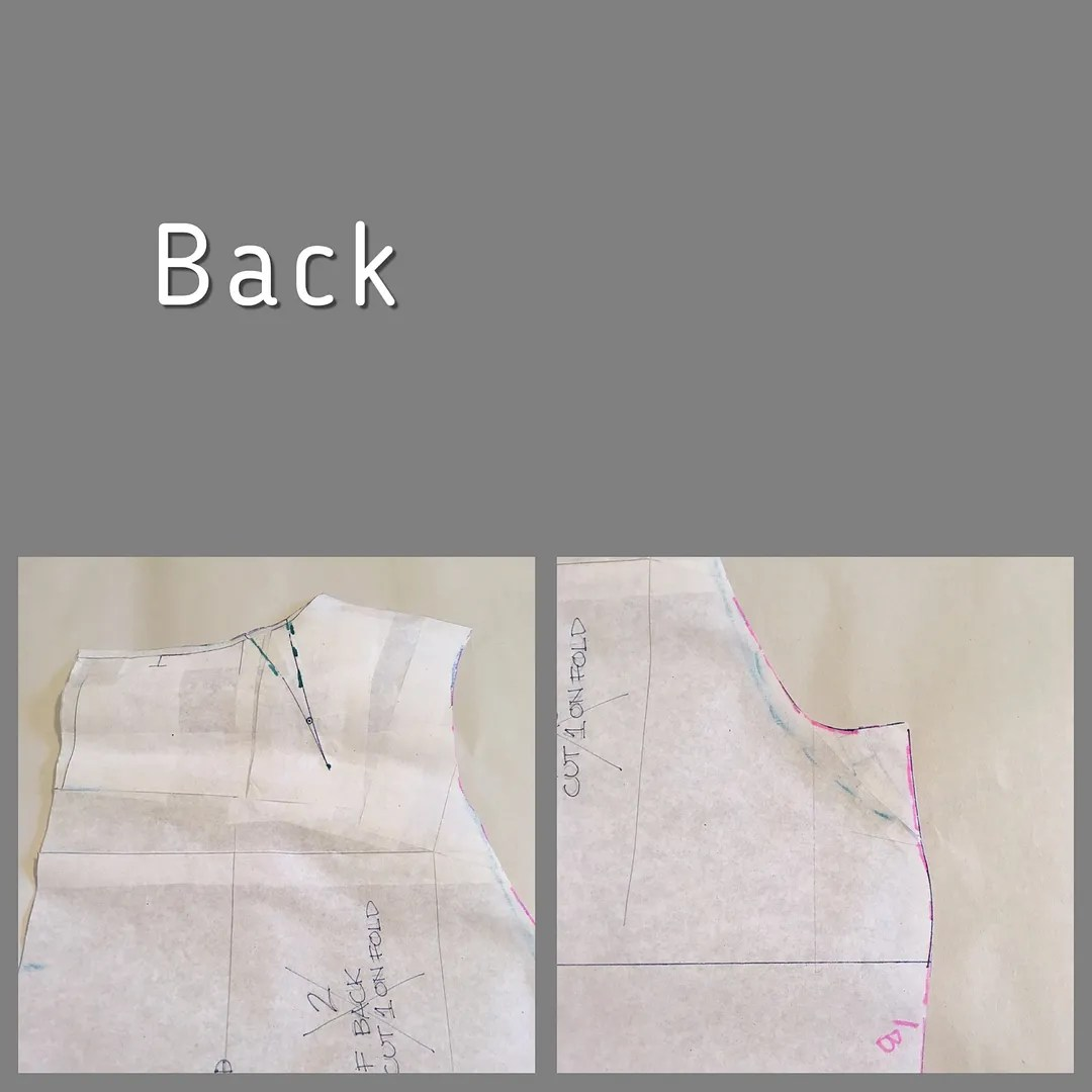 two views of a back bodice piece showing horizontal slash at low shoulder point, neckline dart, and redrawn armhole/armpit curve