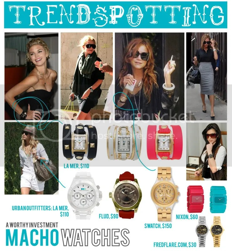 annalynne mccord,mary kate olsen,ashley olsen,victoria beckham,kim kardashian,ashley tisdale,la mer watch,flud watch,nixon watch,bracelet watch,swatch,fredflare.com,macho watch,oversized wrist watch,big watches,manly watches,boyfriend watch,wrap watch,gold,watch,wrist watch