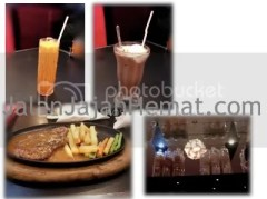 Thai iced with milk, chocolate milk with ice cream & tenderloin steak