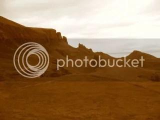 The Quirang in sepia; Isle of Skye