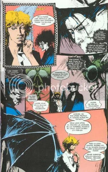 Lucifer habla con Morfeo muy seriamente.