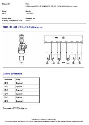 VOLVO FM12 D12D420 MID 128 PID Coolant temperature  Unit injector, check position timing