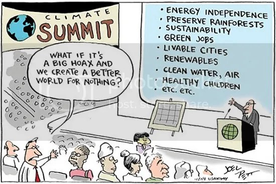Cartoon by Joel Pett, USAToday, what if climate change is a big hoax