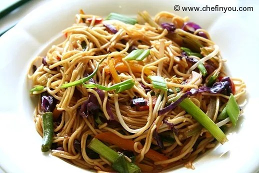 Indo Chinese Vegetarian Hakka Noodles recipe