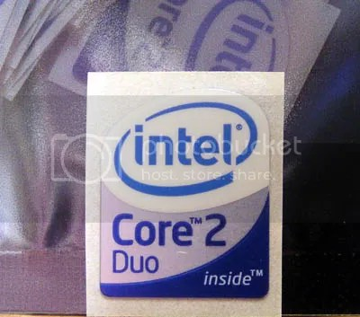 Intel Core 2 Duo Inside (smaller size) part of bottom half has METALLIC shiny background 16mm x 19mm