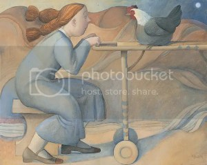 Girl with hen - Marta Czok