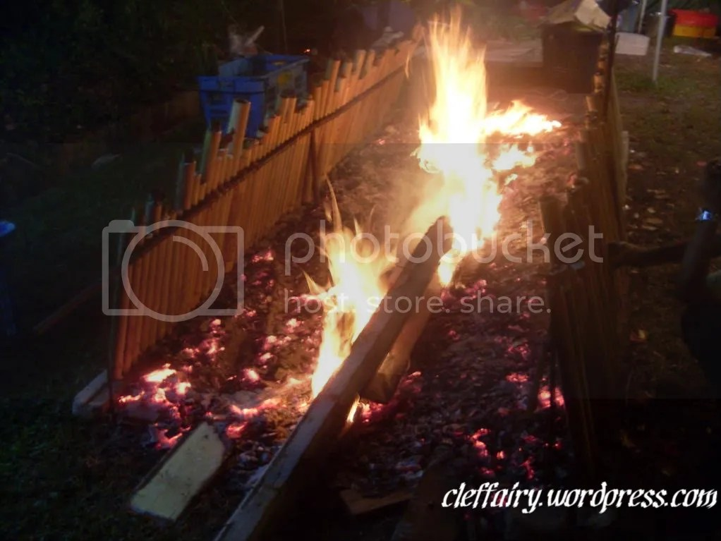 Lemang, placed at the huge open fire to be cooked to perfection