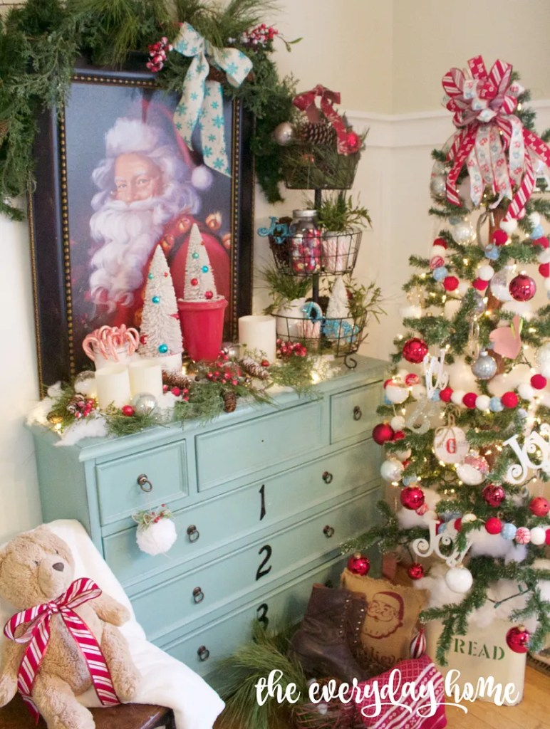 Santa Clause Christmas Vignette   The Everyday Home