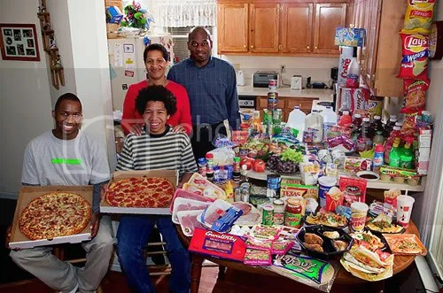 What the World Eats -- the Revis Family of North Carolina, from the Book Hungry Planet via Time.