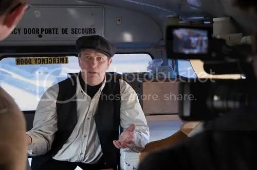 Ontario farmer Michael Schmidt on the blue bus