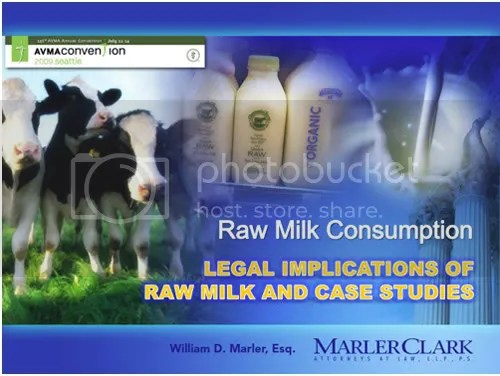 Lead image on the Marler Clark raw milk powerpoint for the AVMA symposium.