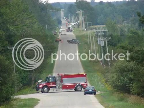 Hydro crews working to restore power.