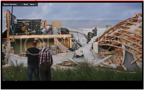 Tornado damage in Durham Ontario. Photo: Dave Chidley, The Canadian Press. Click on image to see more tornado damage photos on Globe and Mail website.