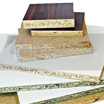 Melamine-coated particle board is a popular kitchen cabinet material