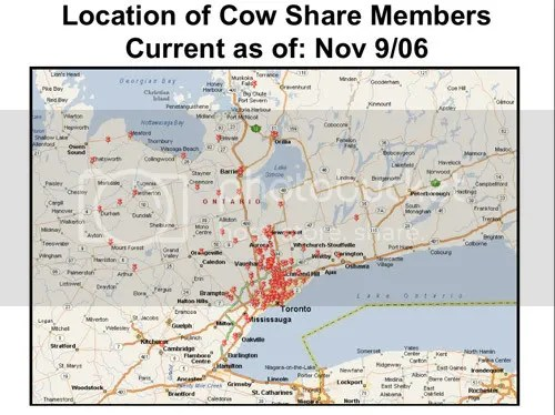 Map shows a red dot for each Glencolton Farms cow-share member.