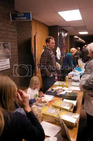Cowshare members and supporter helped look after the sales tables at the Symposium last weekend.
