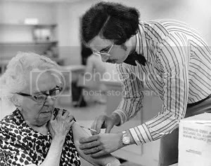 Flashback to the last Swine flu epidemic in 1976. Center for Disease Control photo. Original Salon.com caption: An elderly woman receives a vaccination during the nationwide swine flu vaccination campaign, which began Oct. 1, 1976.