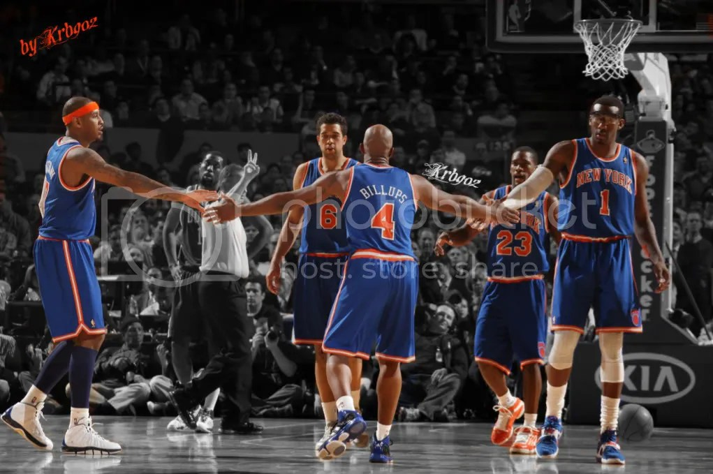 Toney Douglas, Chauncey Billups, Landry Fields, Carmelo Anthony, and Amaré Stoudemire of the New York Knicks