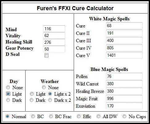Cure Calculations