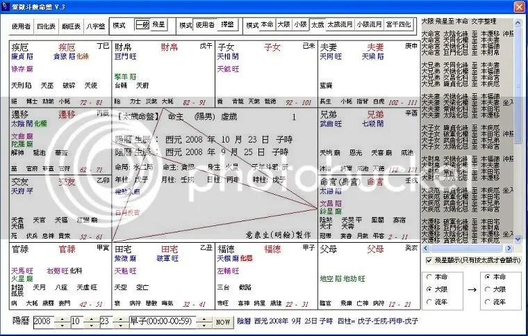 [分享]紫微斗數排盤程式(飛星盤) - DestinyNet 命理網