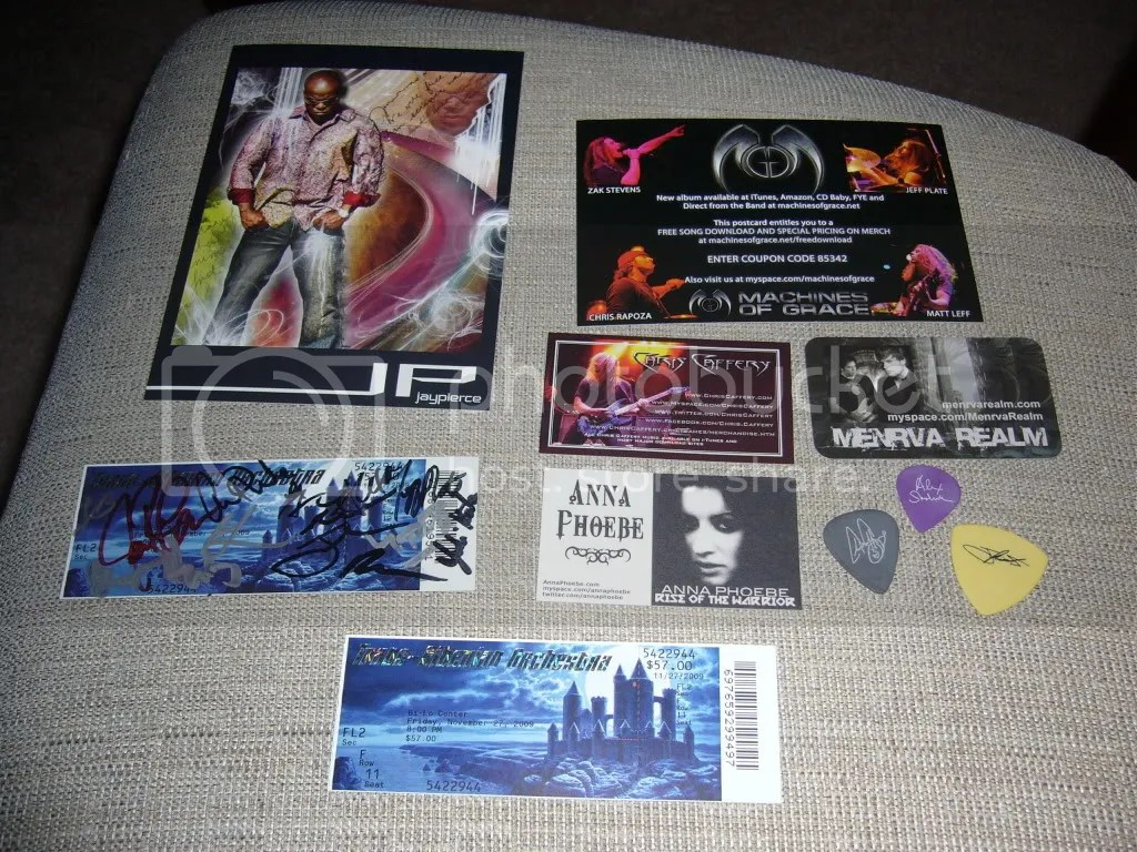 Assorted TSO stuff - Promotional cards, 1 signed ticket, 1 blank ticket, 3 guitar picks (gray=Chris Caffery, purple=Alex Skolnick, yellow=Johnny Lee Middleton (even though he doesn't use a pick))