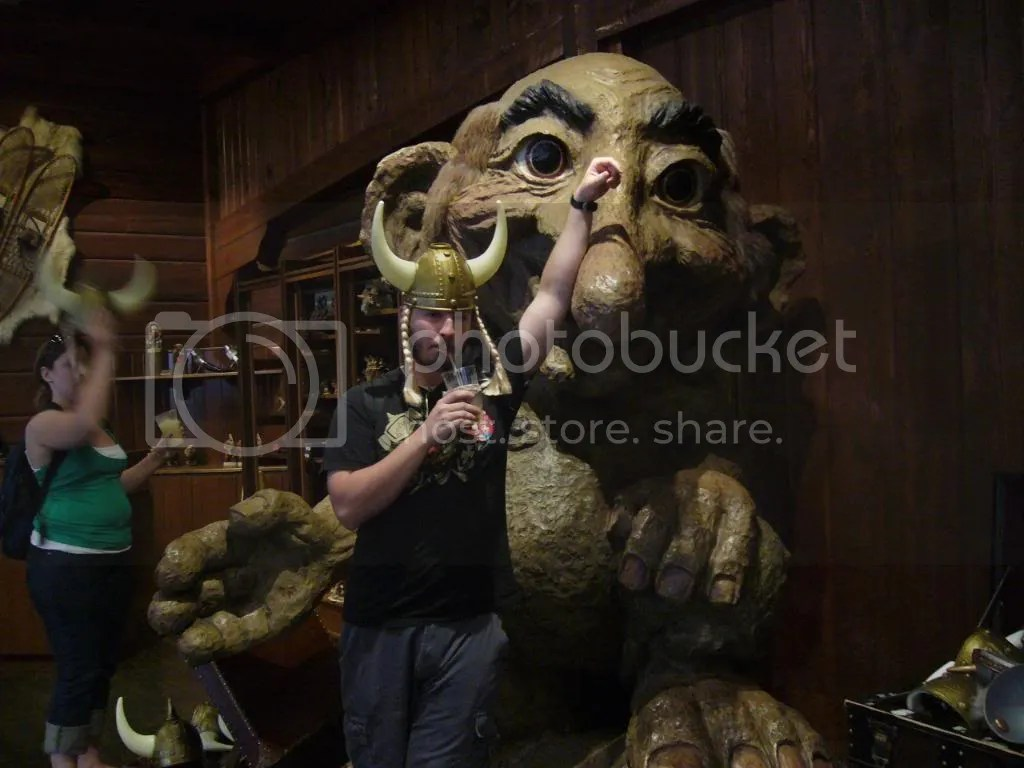 Chris with the troll in Norway, notice the enthusiasm.