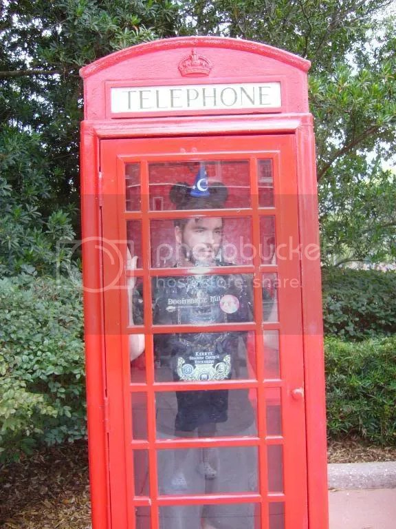 Chris in a telephone booth in England. He said it was really hot inside.