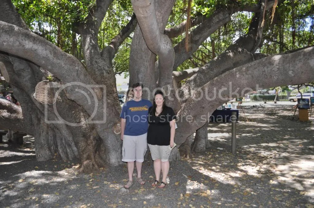 Us under the big banyan tree in Lahaina