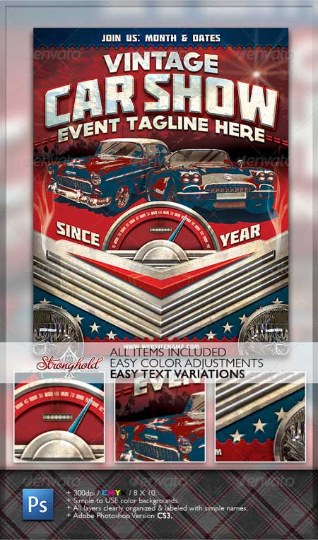 Graphicriver - Vintage Car Show Flyer Photoshop Template