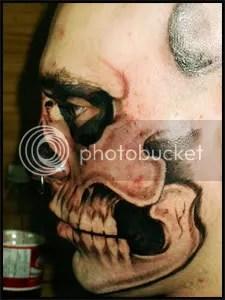 Facial tattoe, face mask