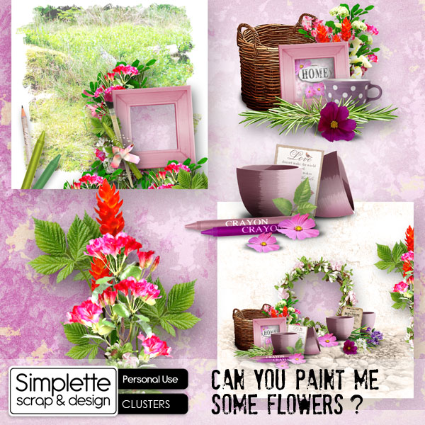 can you paint me some flowers kit by simplette scrap and design pack mix addons