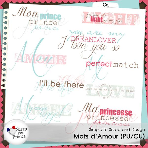 mots d'amour cu commercial use simplette scrap design boutique scrap from france