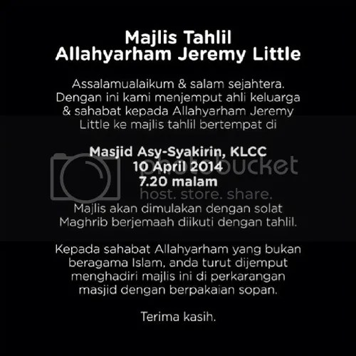 jeremy little meninggal dunia