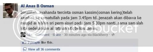 osman ali meninggal dunia