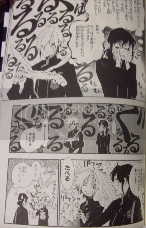 This goes down in Favourite Pages of D.Gray-man Hall of Fame for me. Miranda, who spends a good while inwardly angsting that she wont be able to do anything about Allens rather depressed state, is able to cure him with some candy.