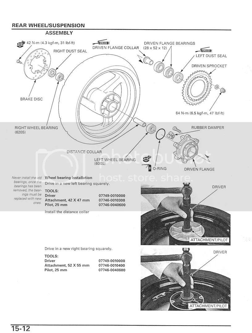 Clutch Assembly And Rear Wheel Bearing Assembly Diagrams