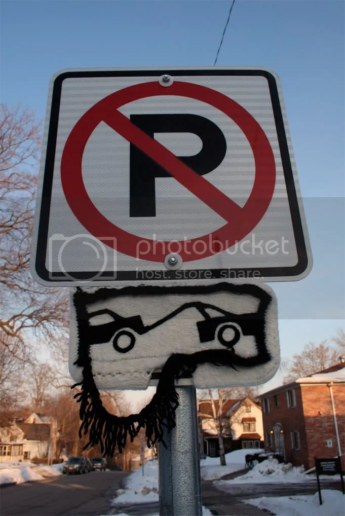 street sign cozies -- no parking.  vehicles will be towed.