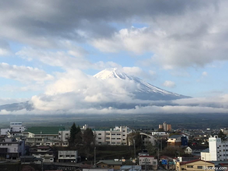 View of Mt Fuji from the roof of ryokan Fujikawaguchiko Onsen Konanso