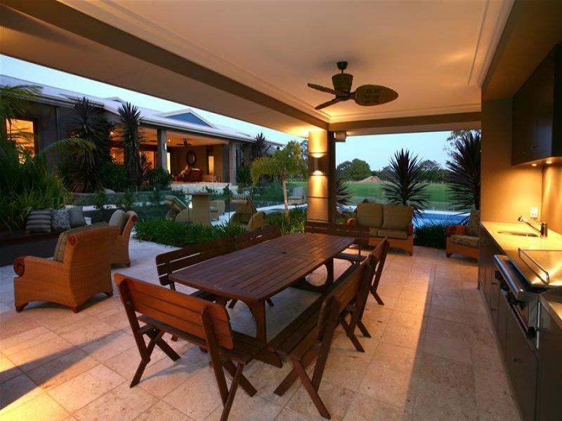 Indoor-outdoor outdoor living design with pool ... on Fancy Outdoor Living id=94331