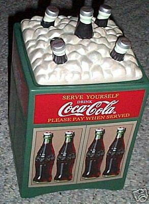 AWESOME DETAILED COCA COLA VINTAGE 1930s GLASCOCK COOLER SHAPE COOKIE JAR