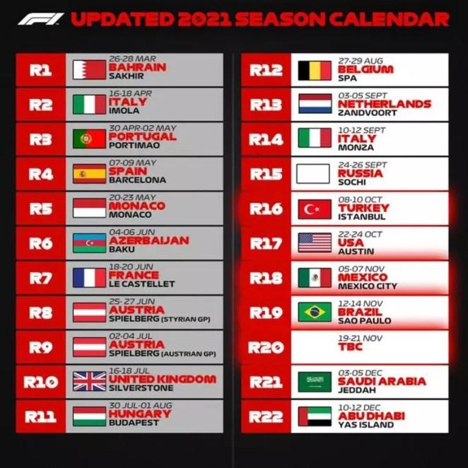 Formula 1 Türkiye GP ne zaman Tarih güncellendi