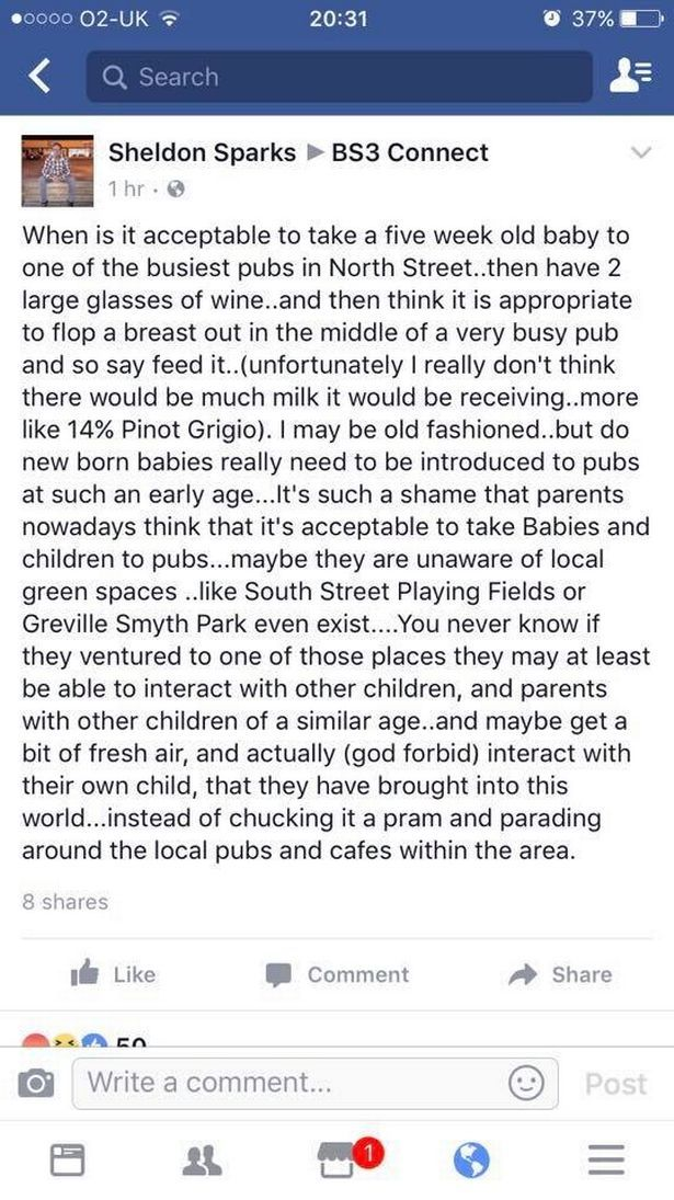 Angry man's rant about woman breastfeeding in a pub on Mother's Day backfires SPECTACULARLY